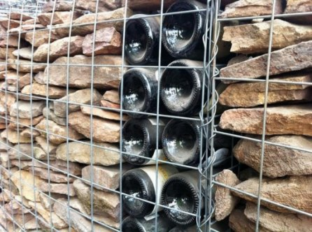 gabion fence with steps